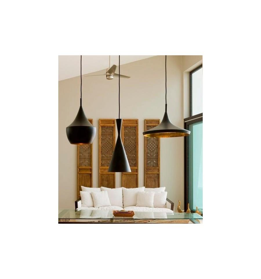 L mpara de techo negra y dorada florencia estilo beat tom - Lamparas techo comedor ...