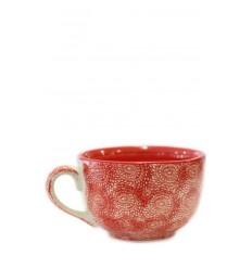 Vajilla de cerámica, taza roja, 12,5 x 8 cm