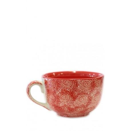 Vajilla de cerámica, taza roja, 12,5 x 8 cm Cerámica