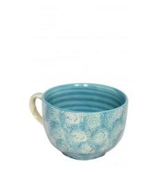 Vajilla de cerámica, taza azul celeste, 12,5 x 8 cm