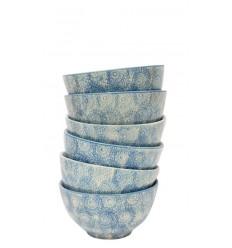 Set de 6 boles azul celeste, 10,5 x 5 cm