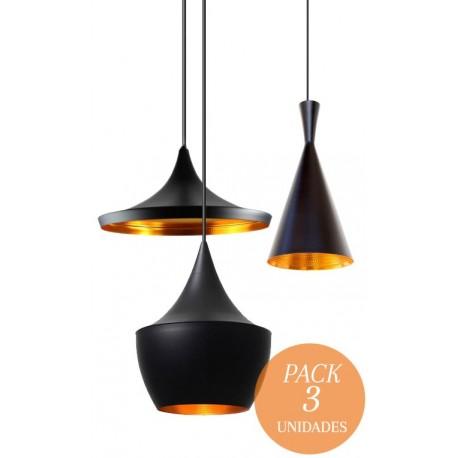 CONJUNTO 3 Lámparas en suspension BEAT Style Aluminio negro dorado
