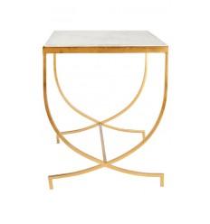 Mesa dorada auxiliar y marmol blanco, 55,9 x 55,9 x 45,7 cm
