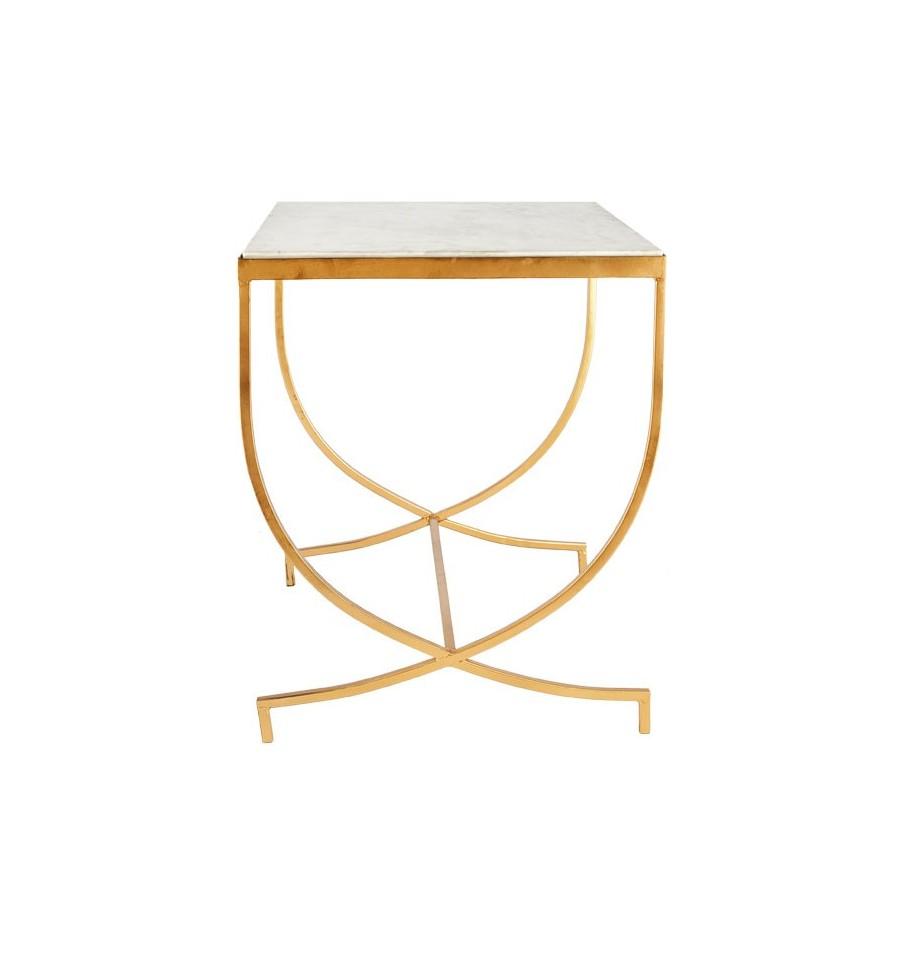 Mesa dorada rectangular retro con tapa de m rmol blanco - Mesa auxiliar dorada ...