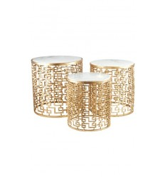 Mesas doradas - set de 3 mesas nido doradas con mármol blanco