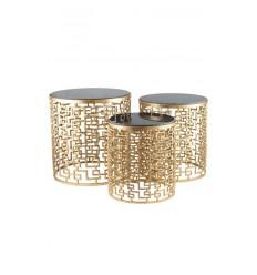 Mesas doradas set de 3 mesas nido en color dorado con mármol negro