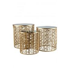 Conjunto de Mesas doradas set de 3 mesas nido doradas con espejo