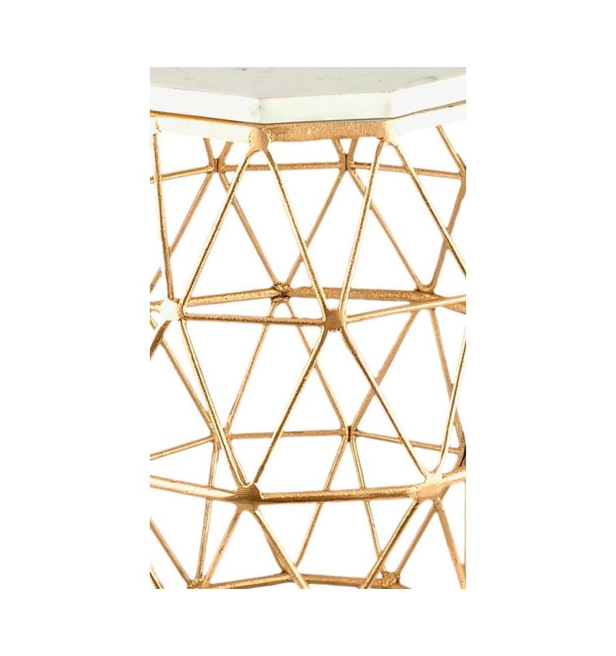 Mesa auxiliar vintage dorada geom trica m rmol blanco iconscorner - Mesa auxiliar dorada ...