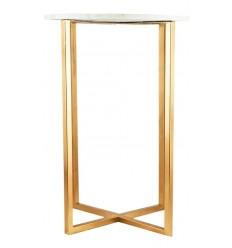 Mesa aux con base dorada y marmol blanco, 43,2 x 43,2 x 61 cm