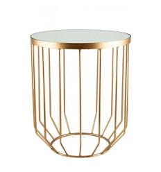Mesa dorada y espejo, 40,6x40,6x48,3 cm. Modelo Solide.