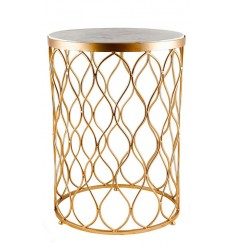 Mesa dorada redonda y tapa de marmol blanco 40,6x40,6x55,9 cm
