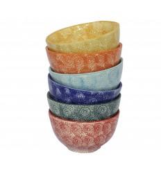 Vajilla de cerámica, seis boles multicolor 14 x 8 cm