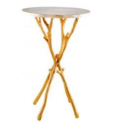 Mesa dorada auxiliar vintage ramas y tapa marmol blanco Iconscorner