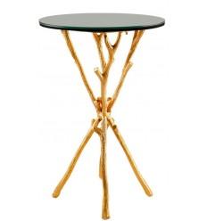 Mesa dorada auxiliar ramas con tapa de espejo, 35,5 x 35,5 x 59,7 cm