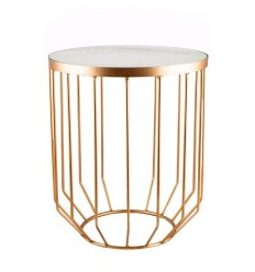 Mesa dorada auxiliar y marmol blanco, 40,65 x 40,65 x 49,53 cm. Modelo Solide