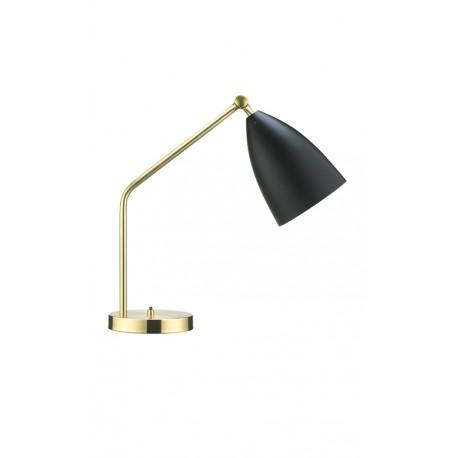 lampara de sobremesa en latón dorado y aluminio negro Grasshopper Mid Century