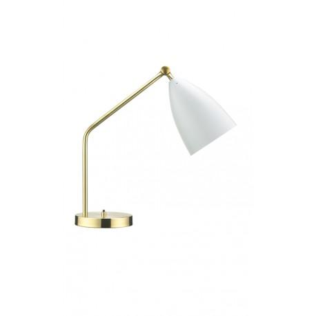 lámpara de sobremesa latón dorado y aluminio blanco Grasshopper Mid Century