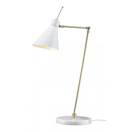 Lámpara de sobremesa latón con pantalla blanca y base de mármol estilo Mid Century