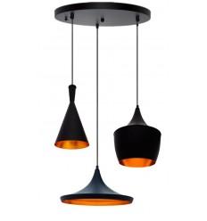 Conjunto 3 Lámparas de Suspension Beat Tom Dixon Style Aluminio Negro y Dorado