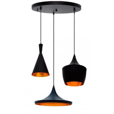 CONJUNTO 3 Lámparas en suspension BEAT Style Aluminio negro dorado LÁMPARAS SALÓN 89,99 €