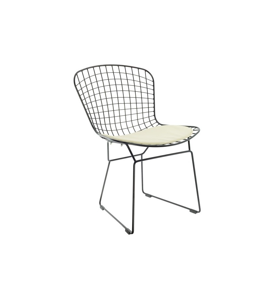 Oferta silla met lica retro bertoia negra coj n beige for Sillas para imprimir