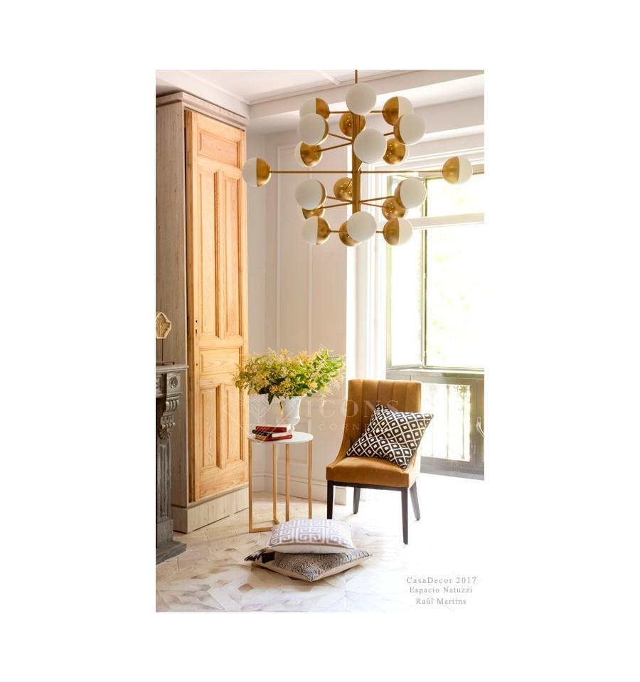 Lámpara techo de diseño Latón Cristal blanco Mid Century| Envío Gratis