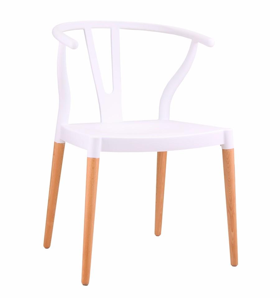 Pack 2 sillas de dise o blancas inspiraci n ch24 h wegner - Silla diseno blanca ...