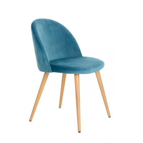 Silla de Terciopelo Azul Vintage Renard