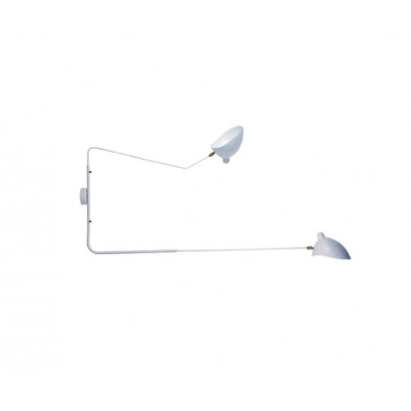 Aplique de pared Serge Mouille MSC-R2C Rotating Sconce blanco