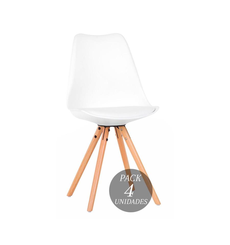 Pack oferta 4 sillas dise o n rdicas blancas coj n y for Sillas diseno oferta