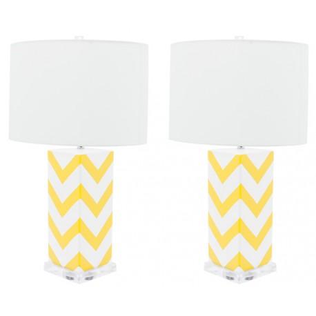 Lámpara de Mesa Cerámica Cécile Blanca y Amarilla LÁMPARAS DE MESA 49,99 €