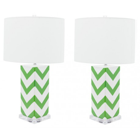 Lámpara de Mesa Cerámica Cécile Blanca y Verde LÁMPARAS DE MESA 49,99 €