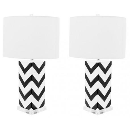 Lámpara de Mesa Cerámica Cécile Blanca y Negra