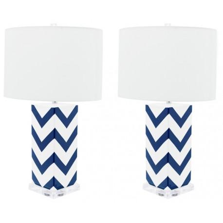 Lámpara de Mesa Cerámica Cécile Blanca y Azul