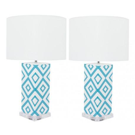 Lámpara de Mesa Cerámica Claire Blanca y Azul Turquesa LAMPARAS 49,99 €
