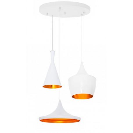 CONJUNTO 3 Lámparas en suspension BEAT Style Aluminio blanco dorado LÁMPARAS SALÓN 69,99 €