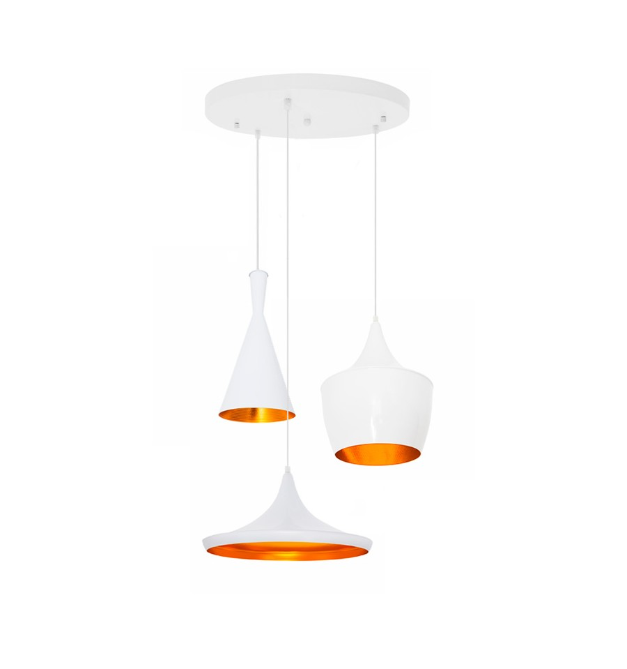 Set 3 l mparas de dise o blanco y dorado beat tom dixon for Lamparas comedor diseno