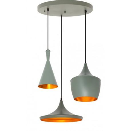 CONJUNTO 3 Lámparas en suspension BEAT Style Aluminio Gris Verdoso LÁMPARAS SALÓN 89,99 €