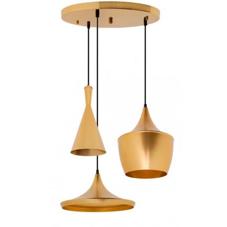 CONJUNTO 3 Lámparas en suspension BEAT Style Aluminio dorado dorado LAMPARAS 69,99 €