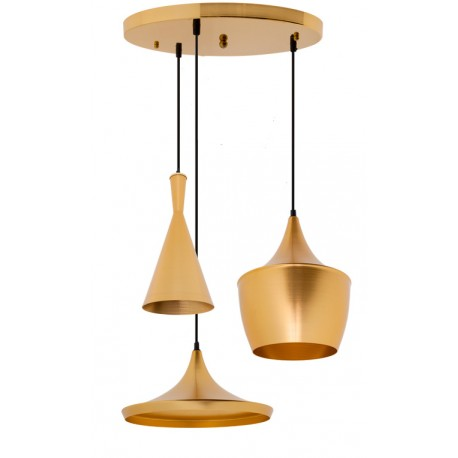 CONJUNTO 3 Lámparas en suspension BEAT Style Aluminio dorado dorado LAMPARAS