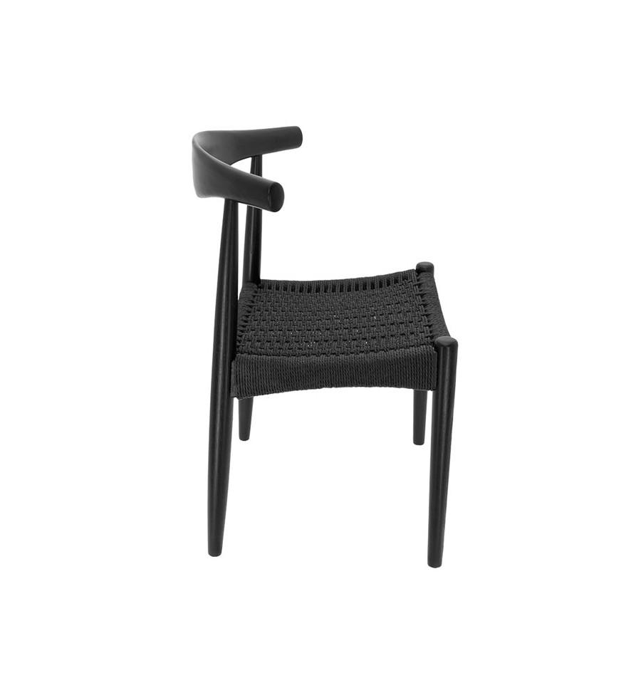 Silla de madera con asiento de enea negra dise o n rdico for Sillas negras de madera