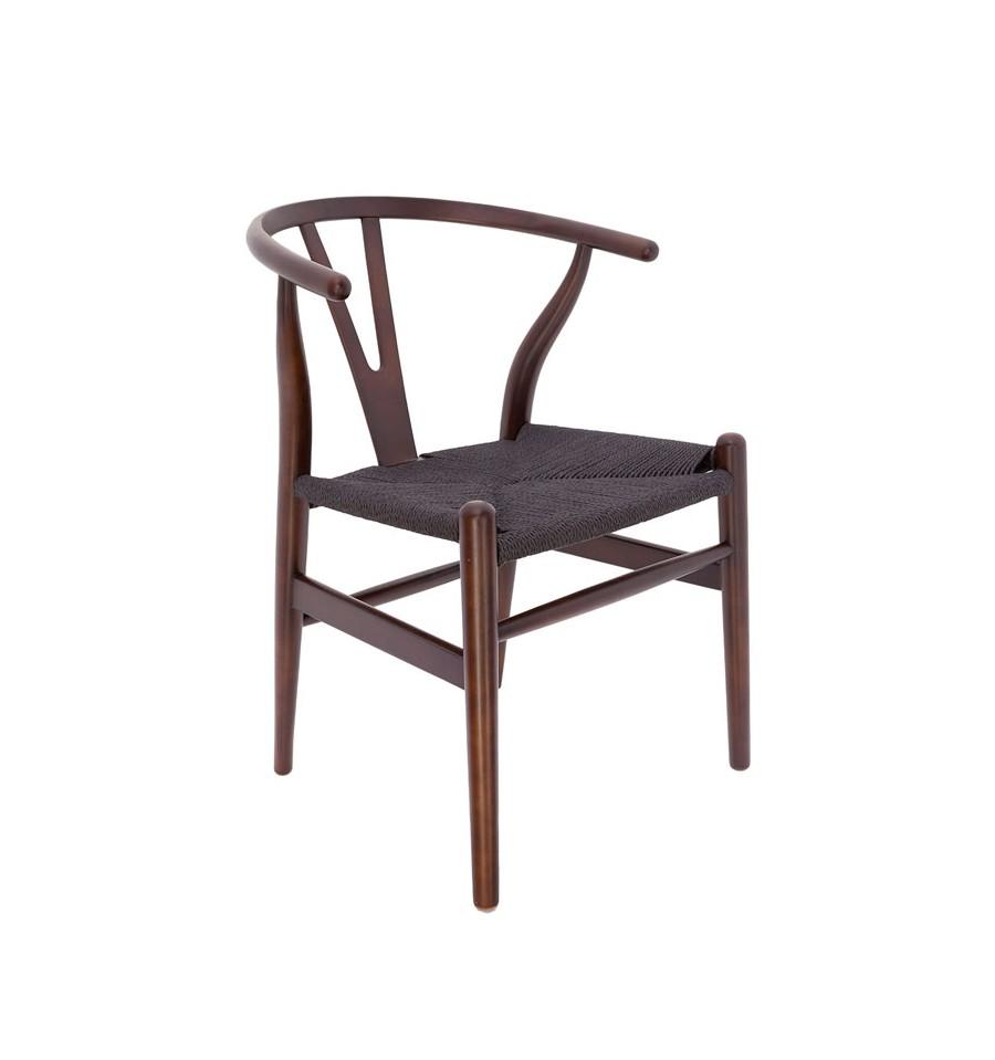 Silla de madera n rdica en nogal con asiento de enea negra - Silla nordica negra ...