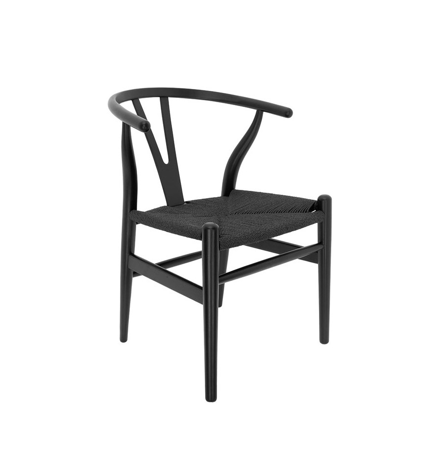 Silla de madera negra con asiento de enea negra tipo wishbone for Sillas negras de madera