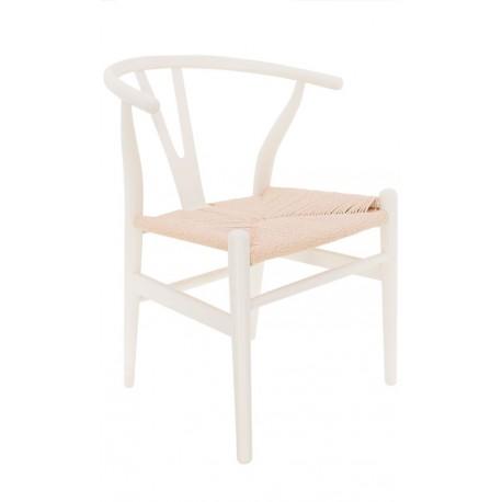 Silla de madera blanca y asiento de enea wishbone toscana for Silla madera blanca