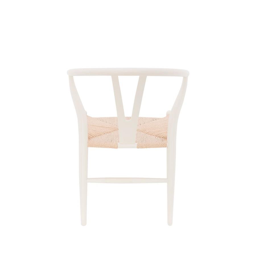 Silla de madera blanca y asiento de enea wishbone toscana for Sillas de diseno blancas