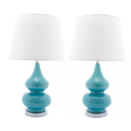 Lámpara Cerámica Vintage de Mesa Gabrielle azul turquesa LÁMPARAS DE MESA 49,99 €