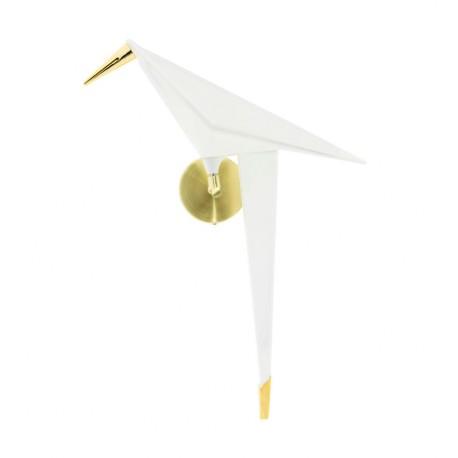 Aplique de pared pájaro Piaf Blanco dorado