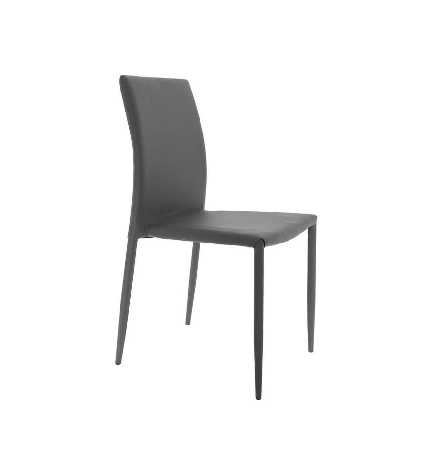 Silla de comedor tapizada apilable gris luli una silla todoterreno - Sillas comedor grises ...