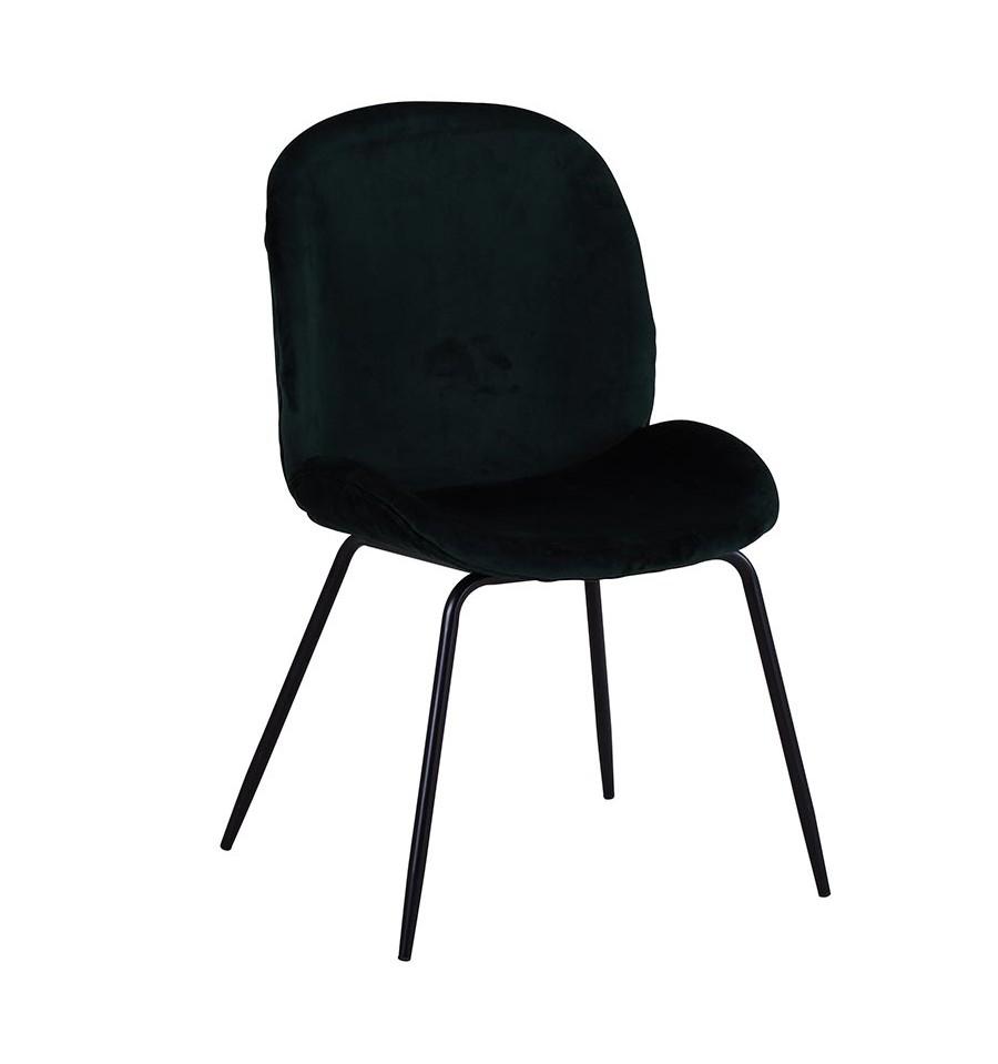 Silla de terciopelo verde mush con patas negras iconscorner - Sillas negras ...