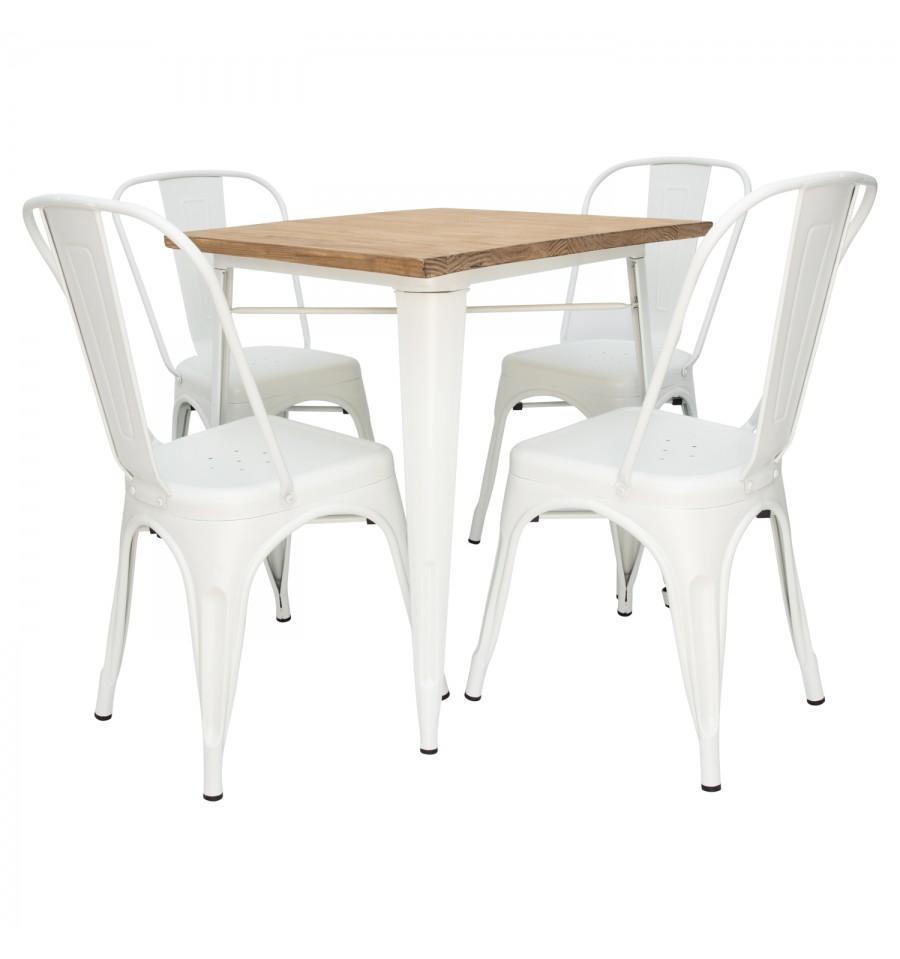 Oferta silla vintage blanca industrial tolix descuentos for Silla industrial barata
